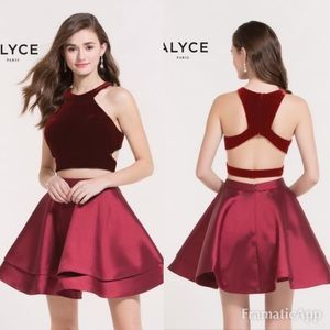 Alyce Paris Two Piece Halter Top Cocktail Dress